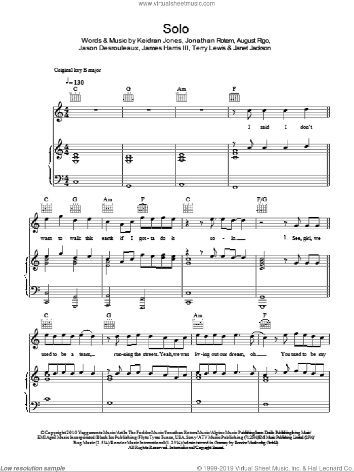 Solo sheet music for voice, piano or guitar by Terry Lewis, James Harris, Janet Jackson, Jason Desrouleaux and Jonathan Rotem. Score Image Preview.