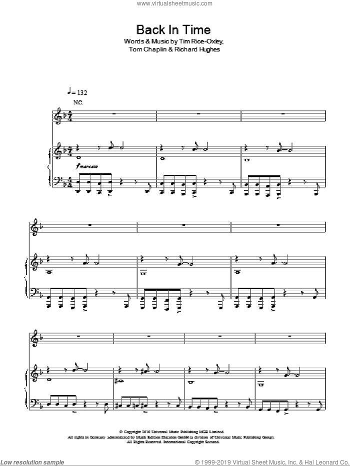 Back In Time sheet music for voice, piano or guitar by Tim Rice-Oxley, intermediate