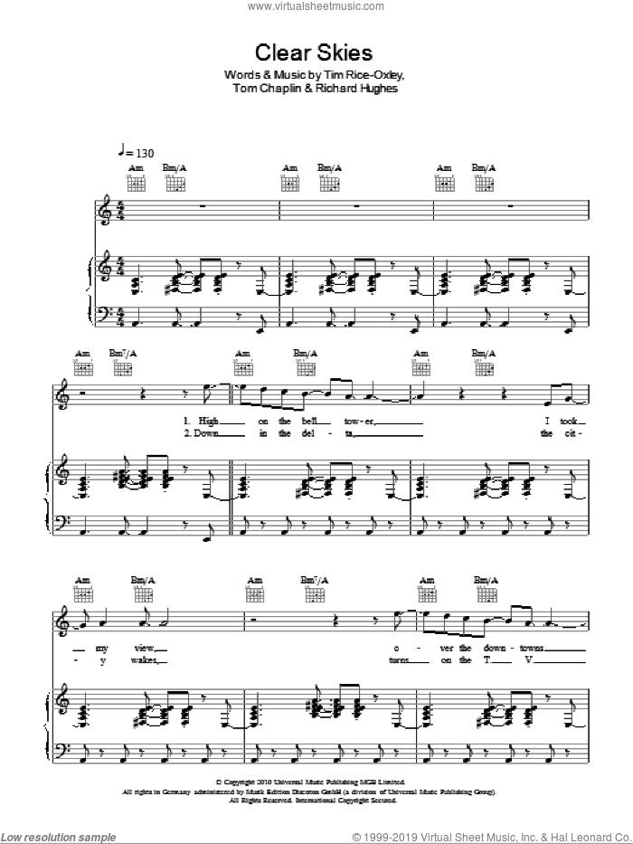 Clear Skies sheet music for voice, piano or guitar by Tom Chaplin, Richard Hughes and Tim Rice-Oxley. Score Image Preview.