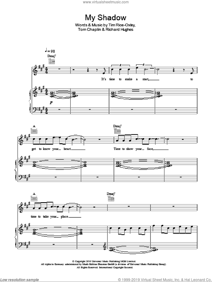 My Shadow sheet music for voice, piano or guitar by Tim Rice-Oxley, intermediate voice, piano or guitar. Score Image Preview.