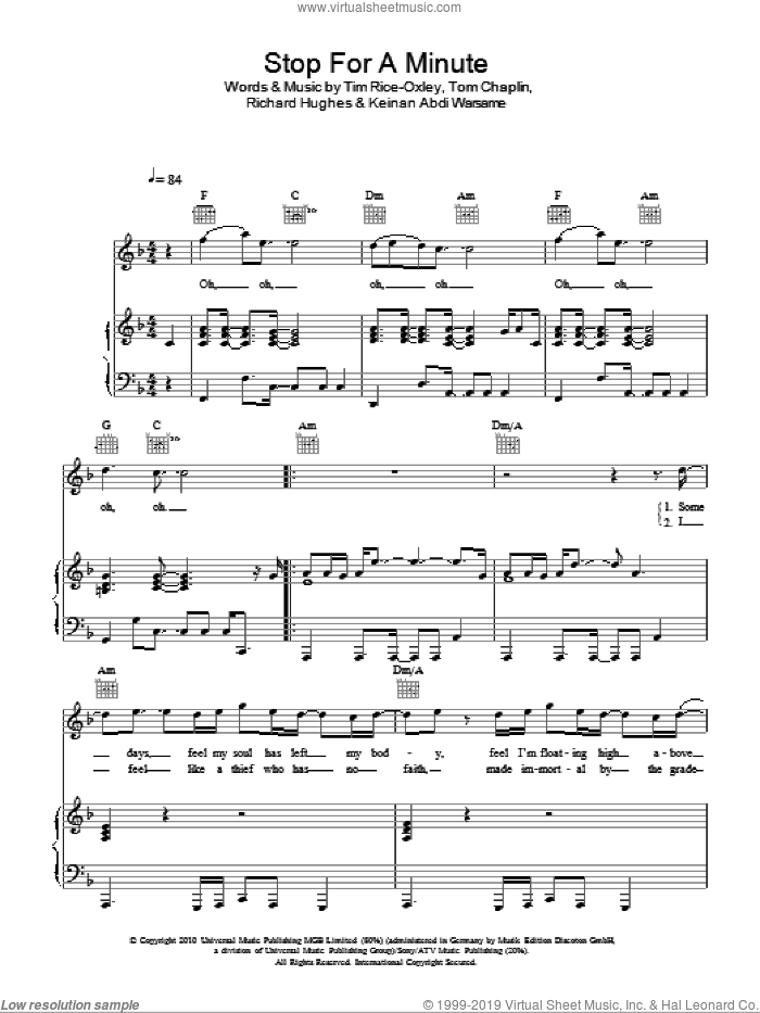 Stop For A Minute sheet music for voice, piano or guitar by Tim Rice-Oxley, Keinan Abdi Warsame, Richard Hughes and Tom Chaplin, intermediate skill level