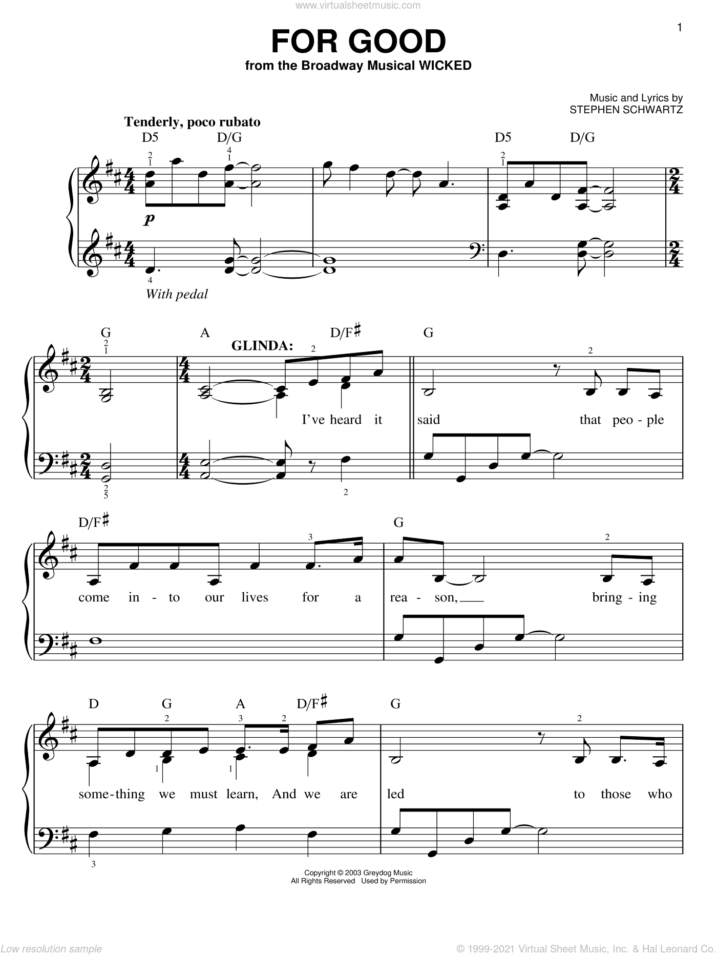 For Good sheet music for piano solo by Stephen Schwartz, easy piano. Score Image Preview.