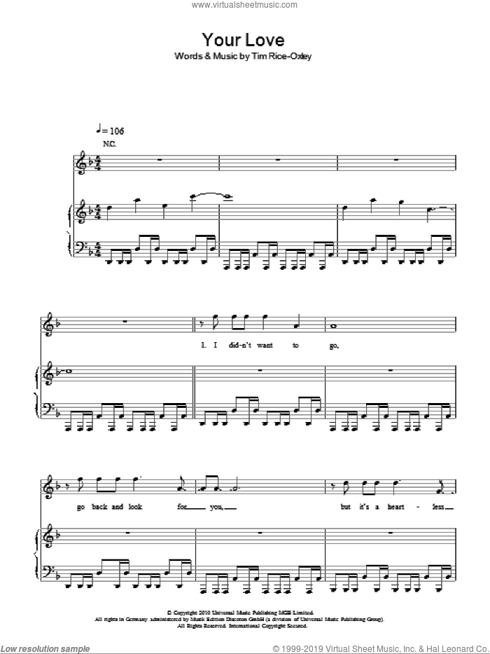 Your Love sheet music for voice, piano or guitar by Tim Rice-Oxley. Score Image Preview.