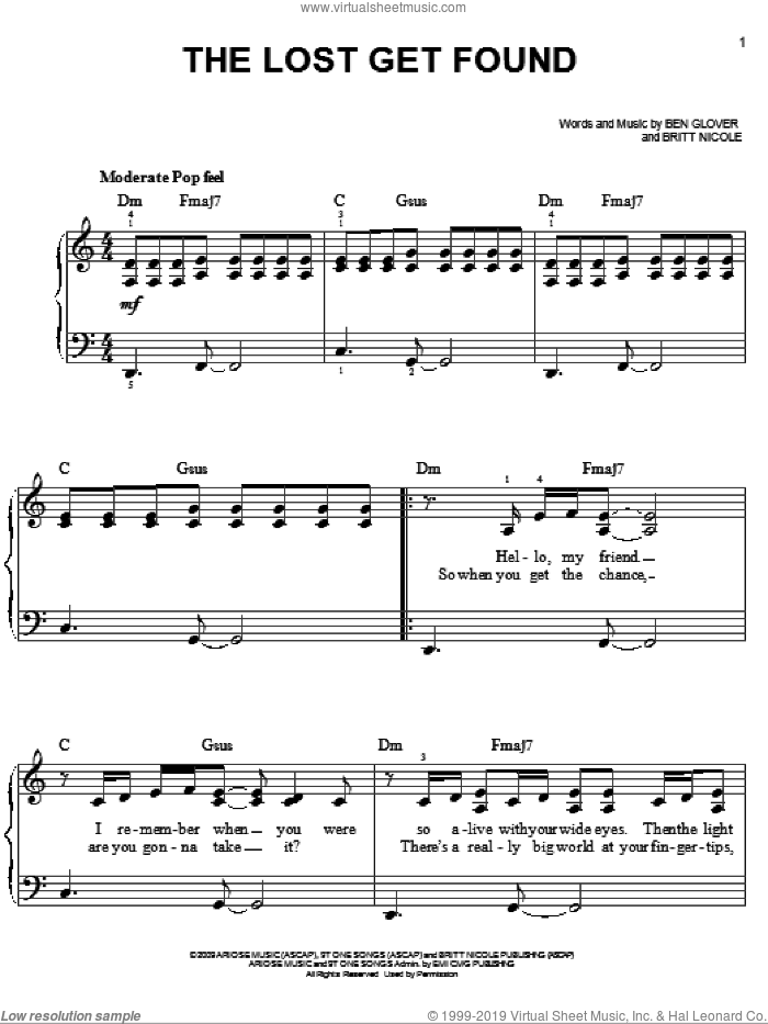 The Lost Get Found sheet music for piano solo by Britt Nicole and Ben Glover, easy skill level