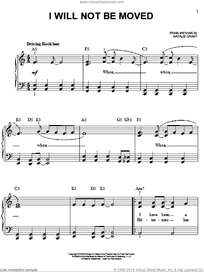 I Will Not Be Moved sheet music for piano solo by Natalie Grant, easy skill level