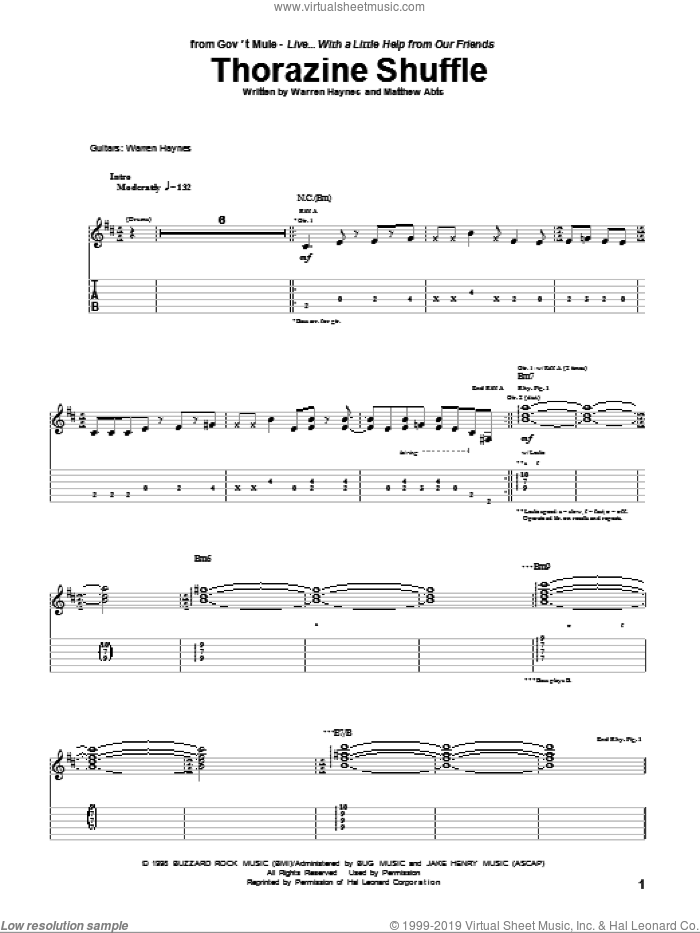 Thorazine Shuffle sheet music for guitar (tablature) by Matthew Abts