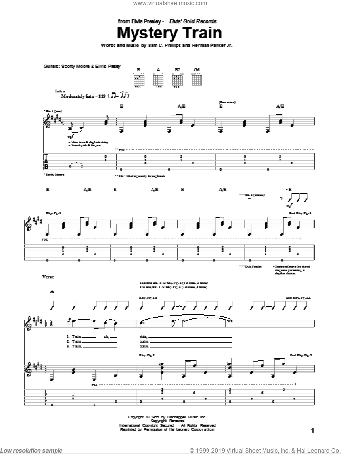 Mystery Train sheet music for guitar (tablature) by Elvis Presley, Herman Parker Jr and Sam C. Phillips, intermediate skill level