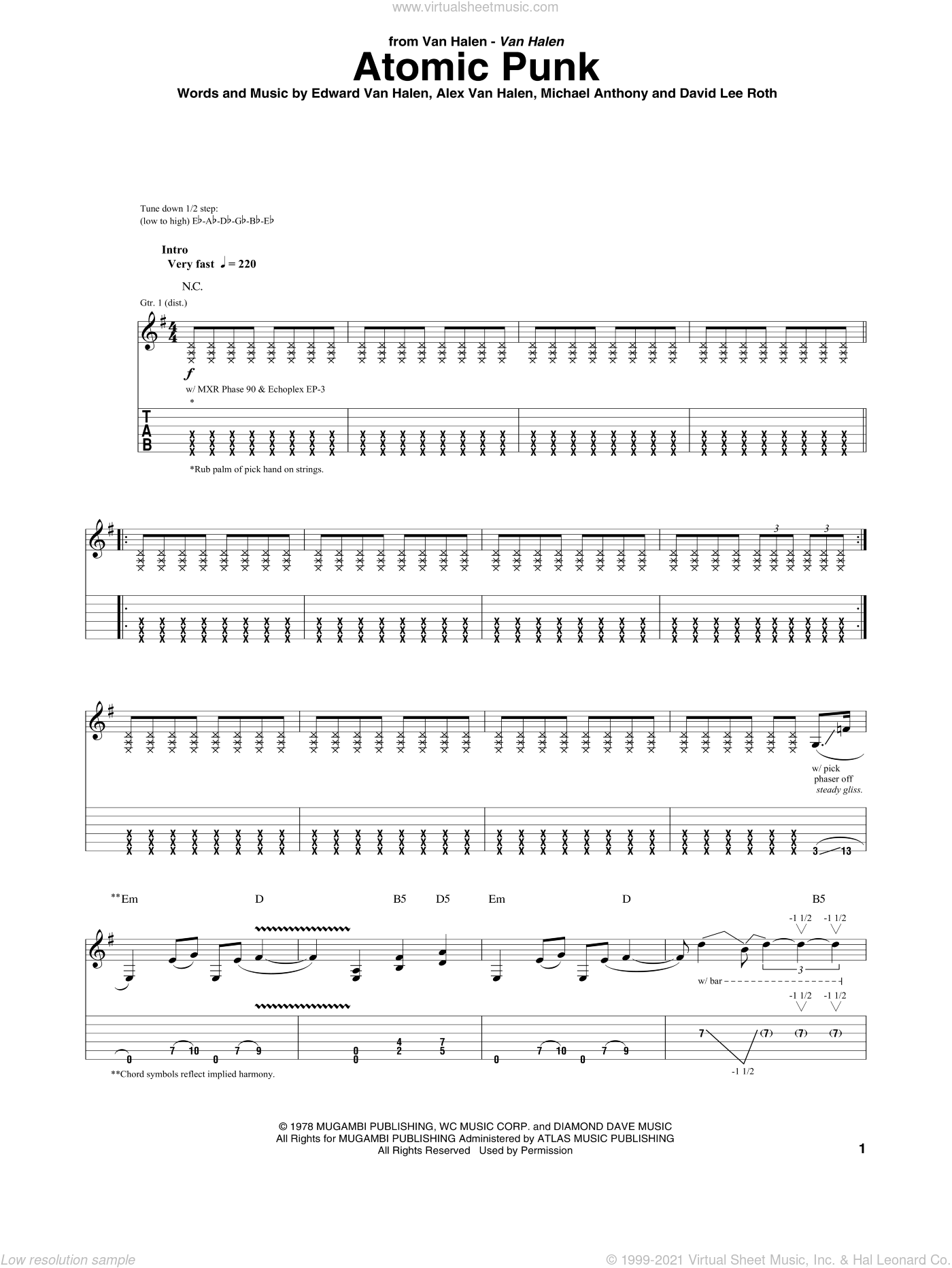 Atomic Punk sheet music for guitar (tablature) by Edward Van Halen, Alex Van Halen, David Lee Roth and Michael Anthony. Score Image Preview.