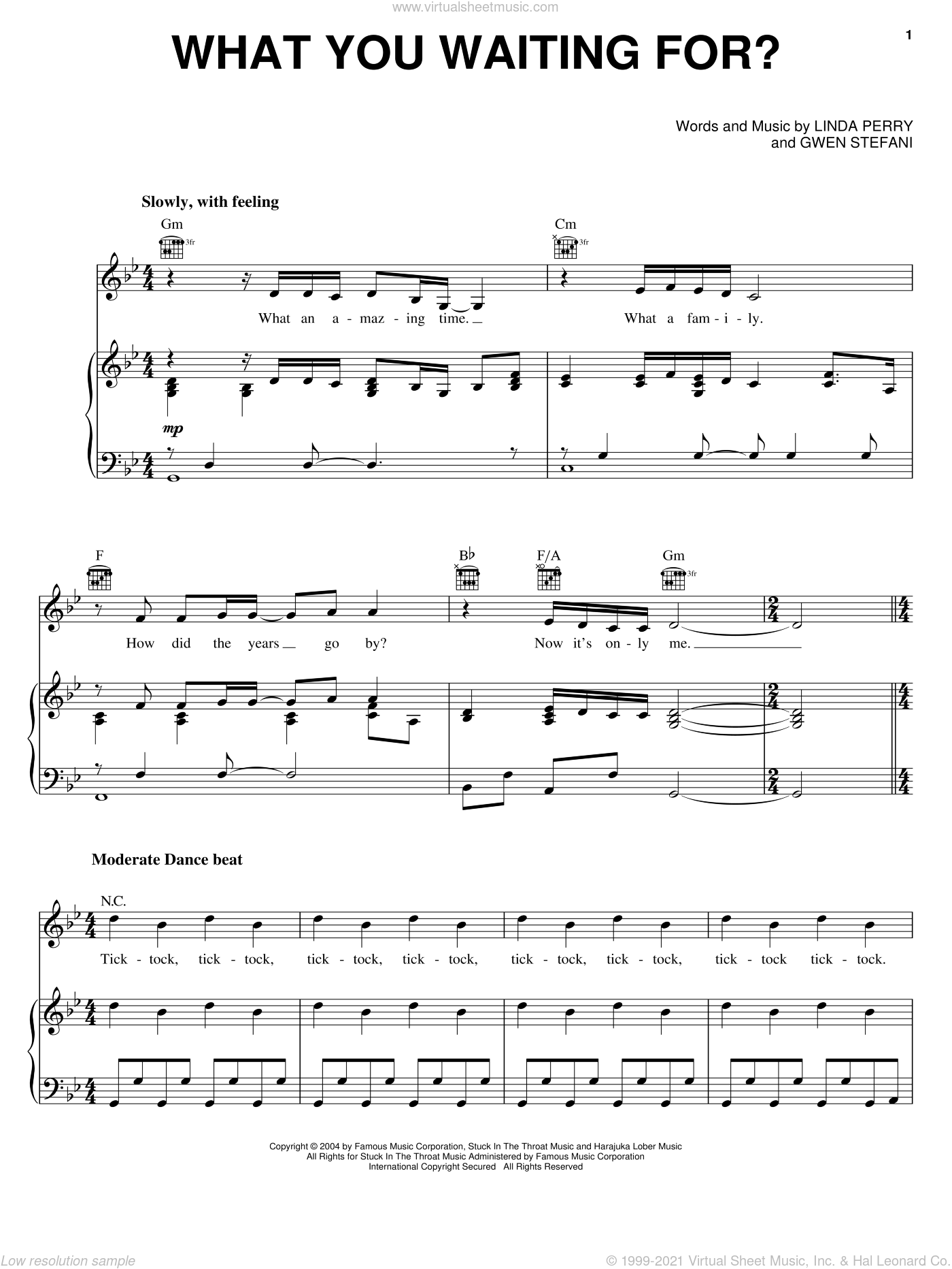 What You Waiting For? sheet music for voice, piano or guitar by Linda Perry and Gwen Stefani. Score Image Preview.