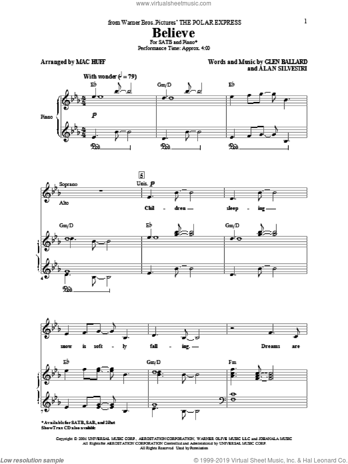 Believe sheet music for choir (SATB: soprano, alto, tenor, bass) by Glen Ballard, Alan Silvestri, Josh Groban and Mac Huff, intermediate skill level