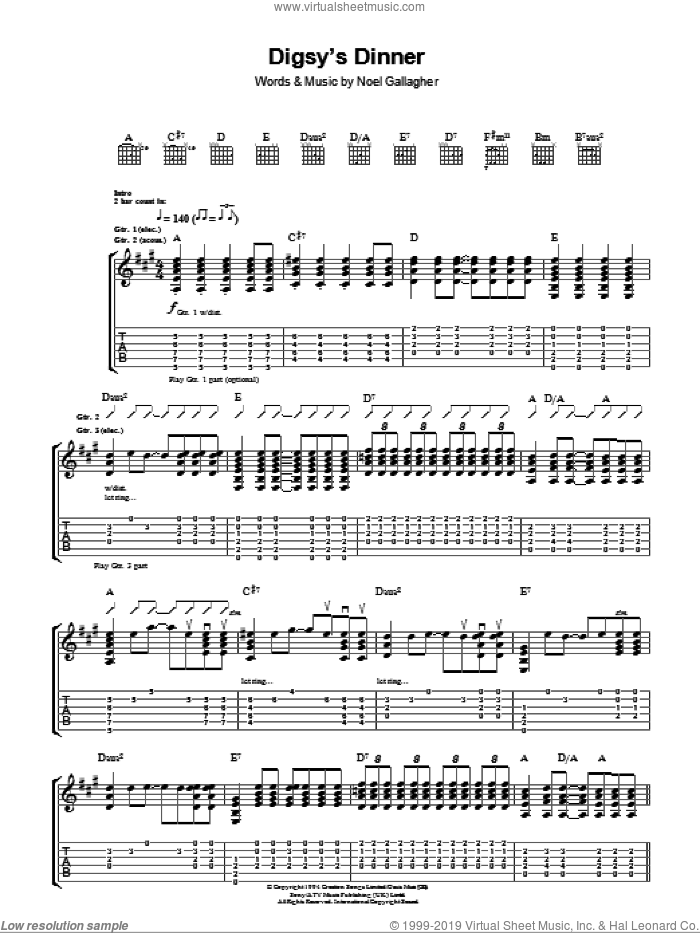 Digsy's Dinner sheet music for guitar (tablature) by Noel Gallagher and Oasis. Score Image Preview.