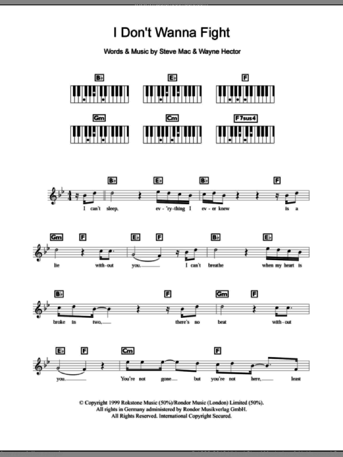 I Don't Wanna Fight sheet music for piano solo (chords, lyrics, melody) by Westlife, Steve Mac and Wayne Hector, intermediate piano (chords, lyrics, melody)