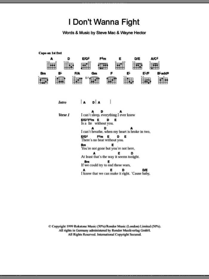 I Don't Wanna Fight sheet music for guitar (chords) by Wayne Hector, Westlife and Steve Mac. Score Image Preview.