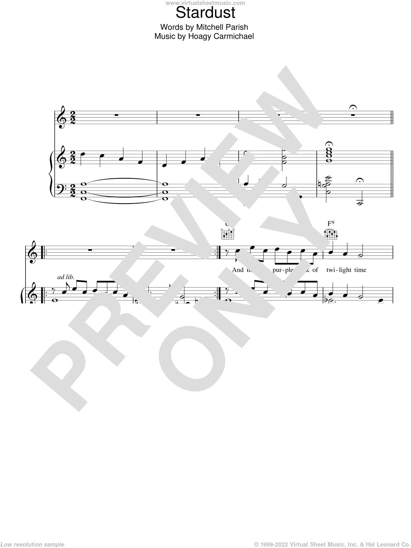 Stardust sheet music for voice, piano or guitar by Hoagy Carmichael and Mitchell Parish. Score Image Preview.
