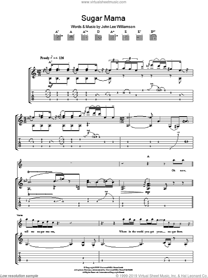 Sugar Mama sheet music for guitar (tablature) by Taste and John Lee Williamson, intermediate. Score Image Preview.