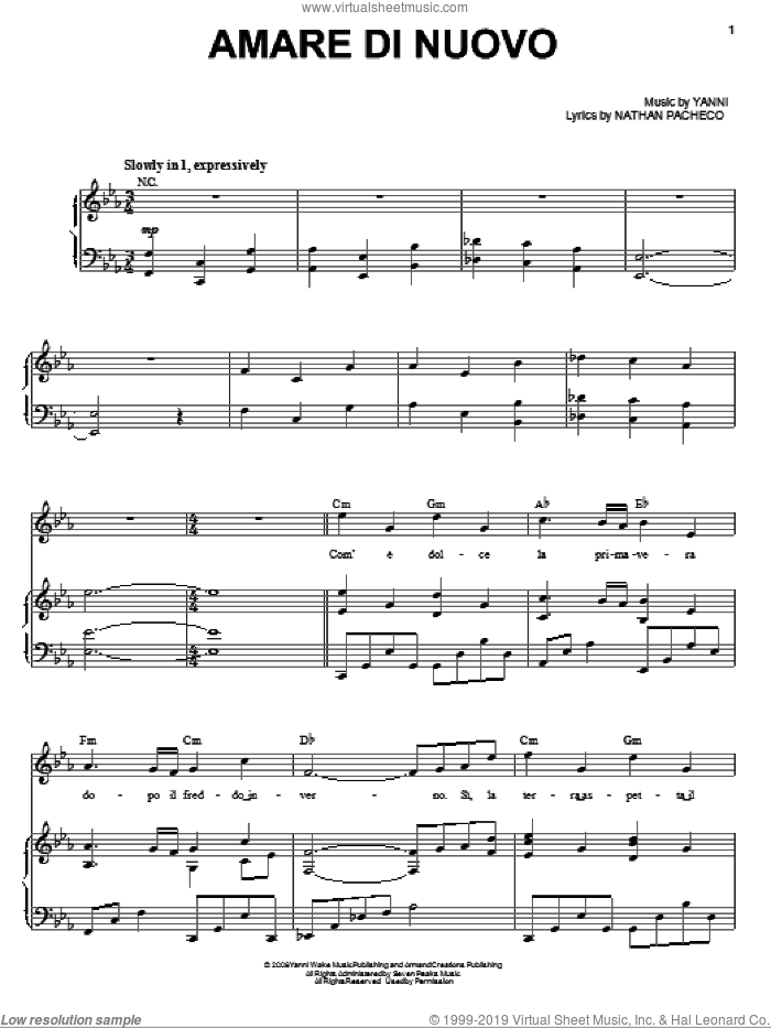 Amare Di Nuovo sheet music for voice, piano or guitar by Nathan Pacheco and Yanni. Score Image Preview.