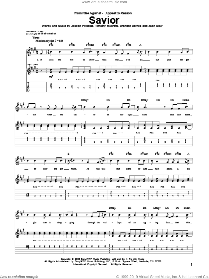 Savior sheet music for guitar (tablature) by Rise Against, intermediate. Score Image Preview.