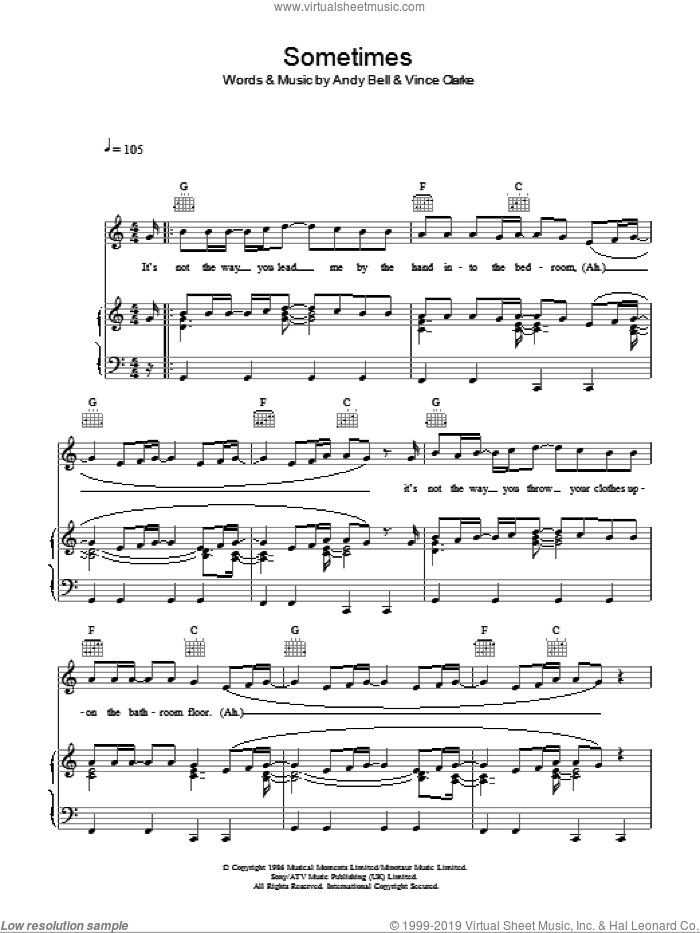 Sometimes sheet music for voice, piano or guitar by Vince Clarke