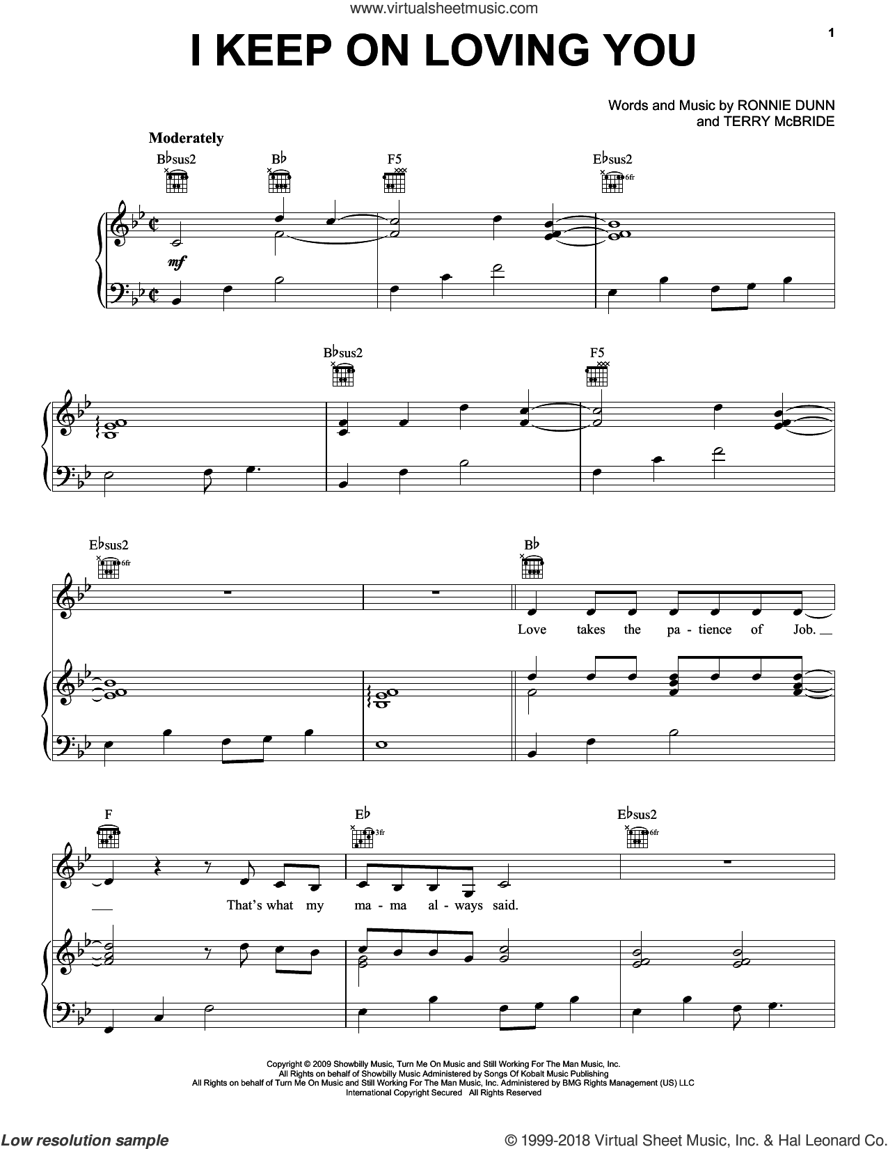 I Keep On Loving You sheet music for voice, piano or guitar by Reba McEntire, Ronnie Dunn and Terry McBride. Score Image Preview.