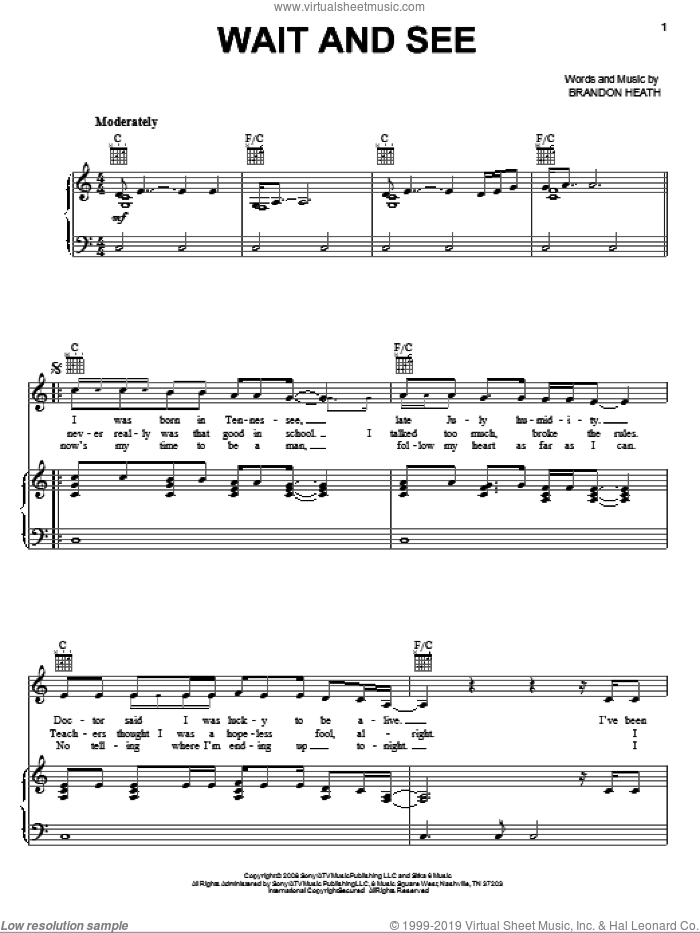 Wait And See sheet music for voice, piano or guitar by Brandon Heath, intermediate skill level