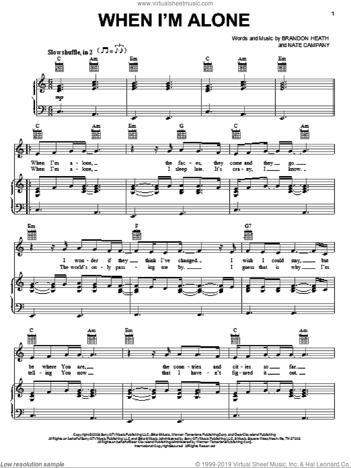 When I'm Alone sheet music for voice, piano or guitar by Brandon Heath and Nate Campany, intermediate skill level
