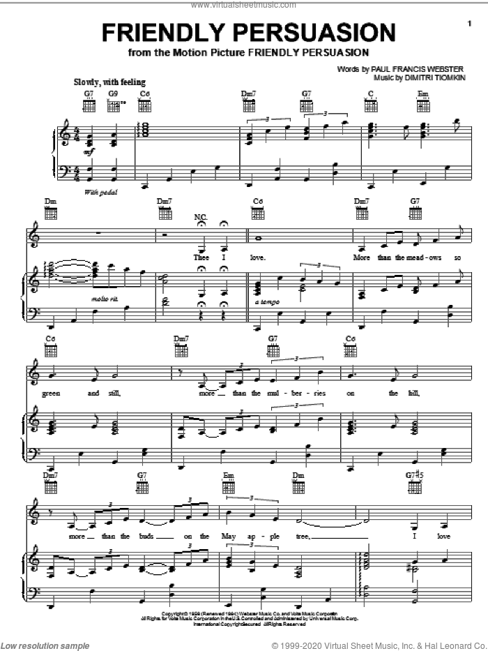 Friendly Persuasion sheet music for voice, piano or guitar by Paul Francis Webster