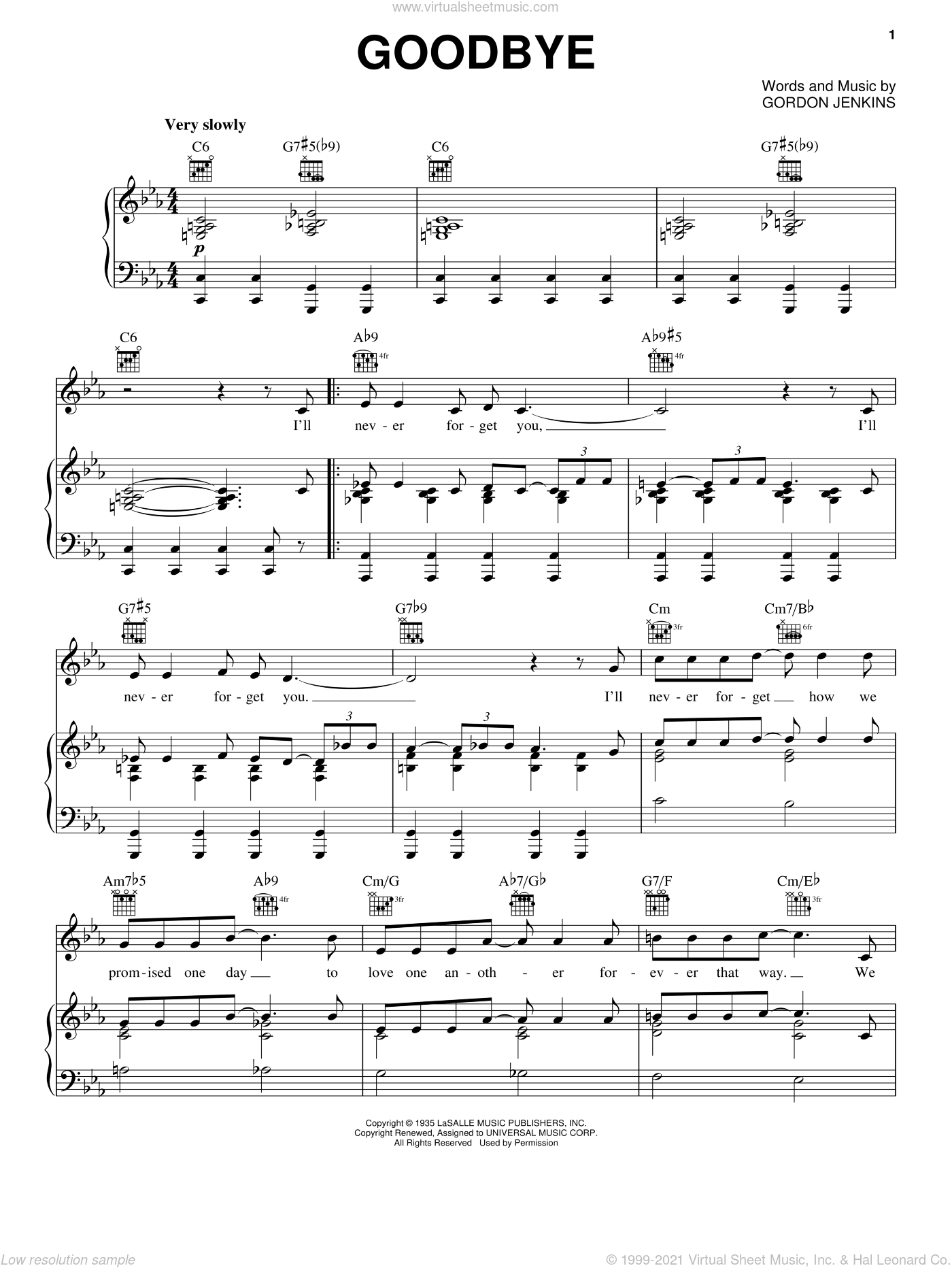 Goodbye sheet music for voice, piano or guitar by Gordon Jenkins, Benny Goodman and Rosemary Clooney. Score Image Preview.