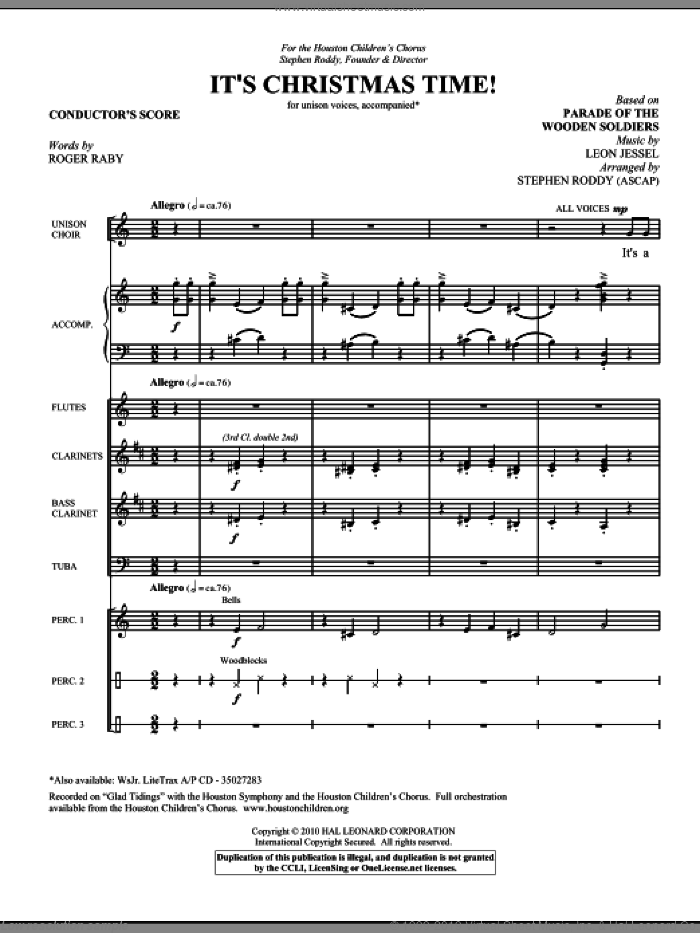 It's Christmas Time! (COMPLETE) sheet music for orchestra/band (Special) by Leon Jessel, Roger Raby and Stephen Roddy, intermediate skill level
