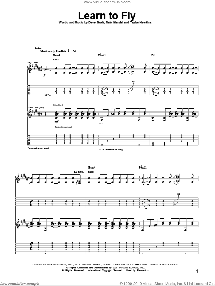 Learn To Fly sheet music for guitar (tablature) by Foo Fighters, Dave Grohl, Nate Mendel and Taylor Hawkins, intermediate. Score Image Preview.