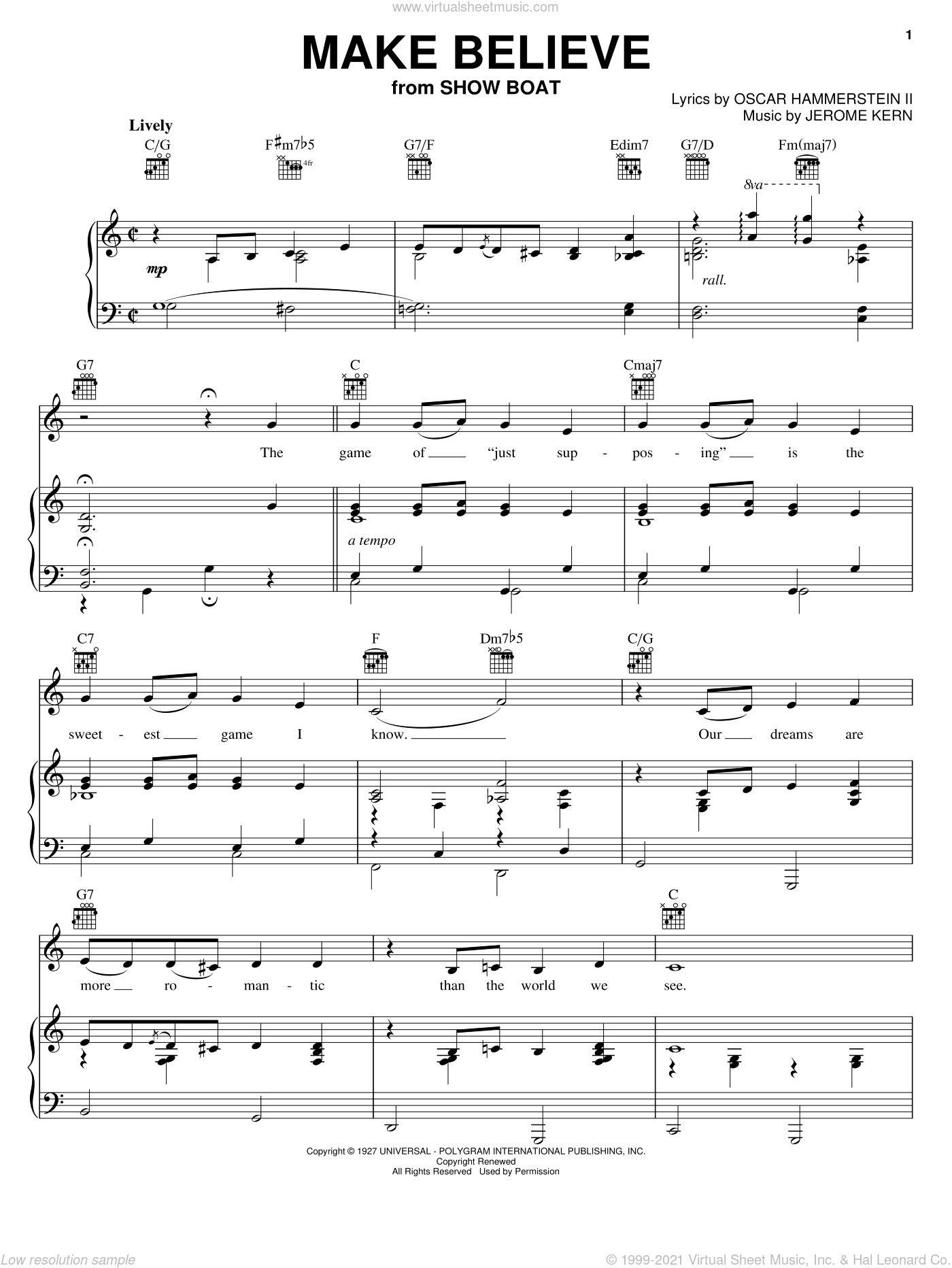 Make Believe sheet music for voice, piano or guitar by Jerome Kern, Benny Goodman, Bing Crosby, Peggy Lee, Show Boat (Musical) and Oscar II Hammerstein, intermediate skill level