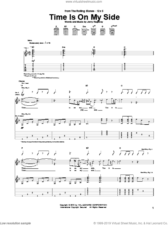 Time Is On My Side sheet music for guitar (tablature) by The Rolling Stones and Jerry Ragovoy, intermediate skill level