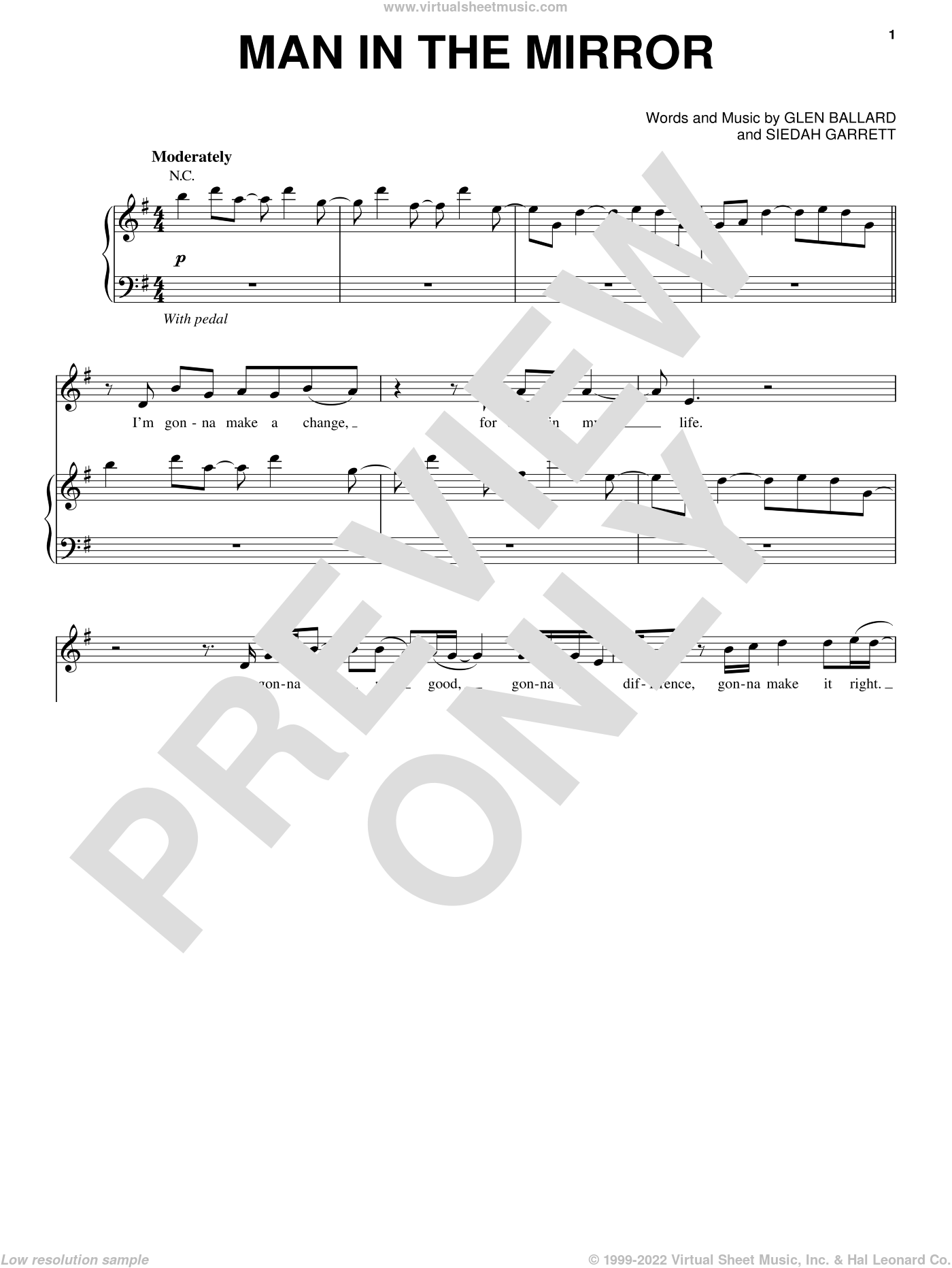 Man In The Mirror sheet music for voice, piano or guitar by Siedah Garrett, Michael Jackson and Glen Ballard. Score Image Preview.