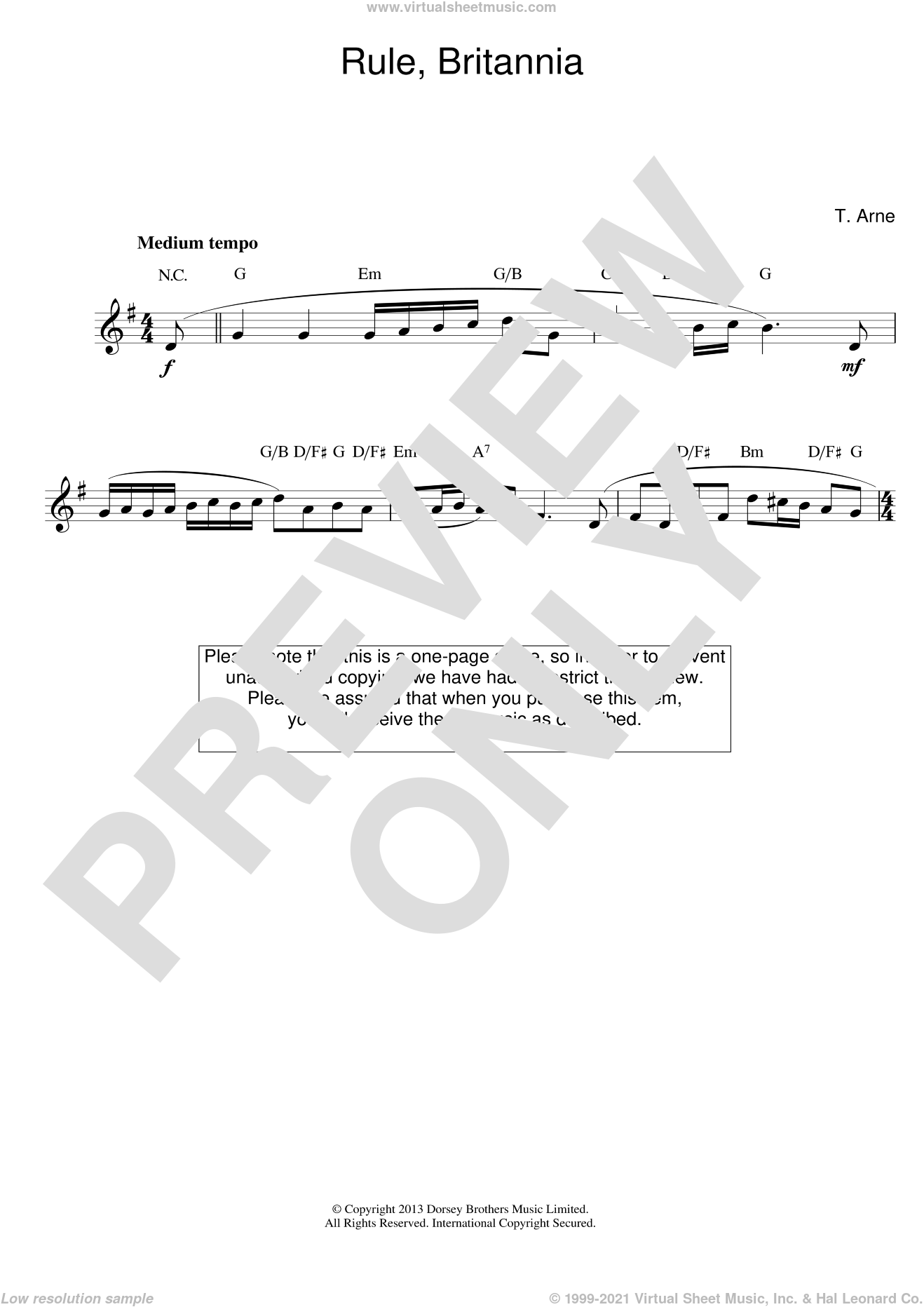 Rule Britannia sheet music for voice and other instruments (fake book) by Thomas Arne, intermediate skill level