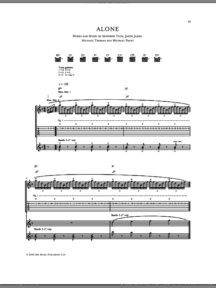 Alone sheet music for guitar (tablature) by Bullet For My Valentine. Score Image Preview.