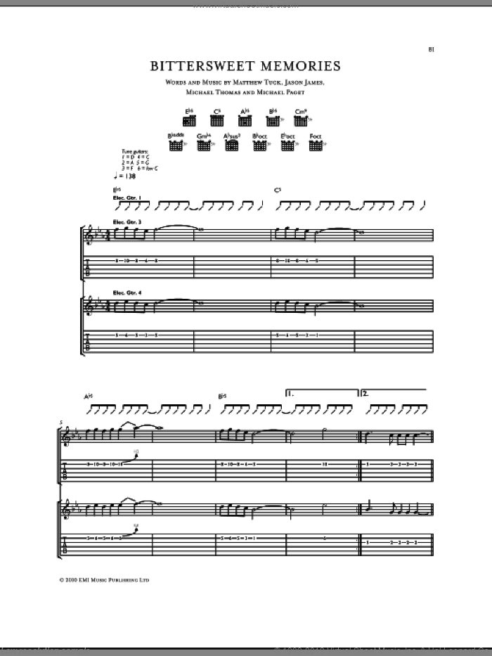 Bittersweet Memories sheet music for guitar (tablature) by Bullet For My Valentine. Score Image Preview.