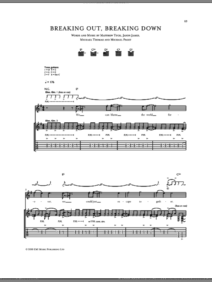 Breaking Out, Breaking Down sheet music for guitar (tablature) by Bullet For My Valentine, intermediate guitar (tablature). Score Image Preview.