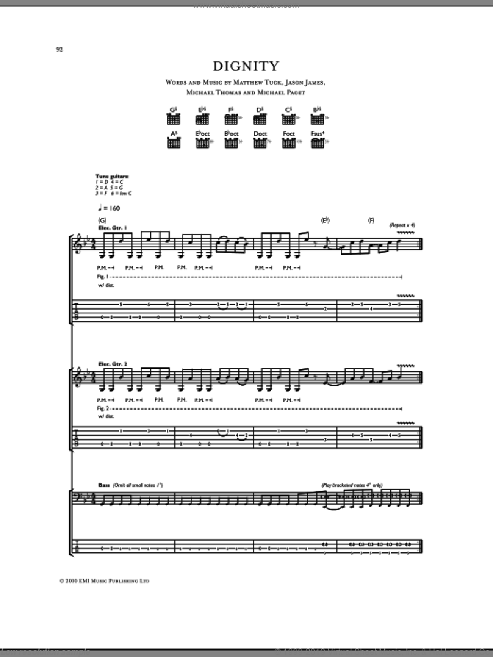 Dignity sheet music for guitar (tablature) by Michael Thomas, Bullet For My Valentine and Don Gilmore. Score Image Preview.