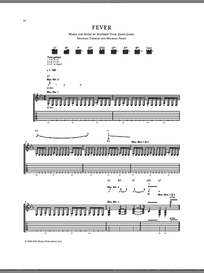 Fever sheet music for guitar (tablature) by Michael Thomas, Bullet For My Valentine and Don Gilmore. Score Image Preview.