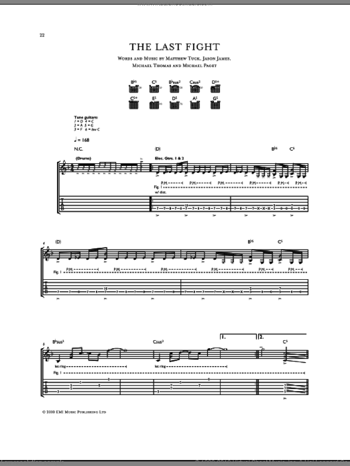 The Last Fight sheet music for guitar (tablature) by Michael Thomas