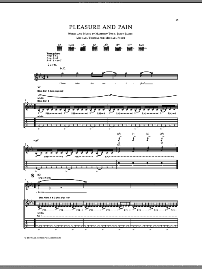 Pleasure And Pain sheet music for guitar (tablature) by Bullet For My Valentine. Score Image Preview.