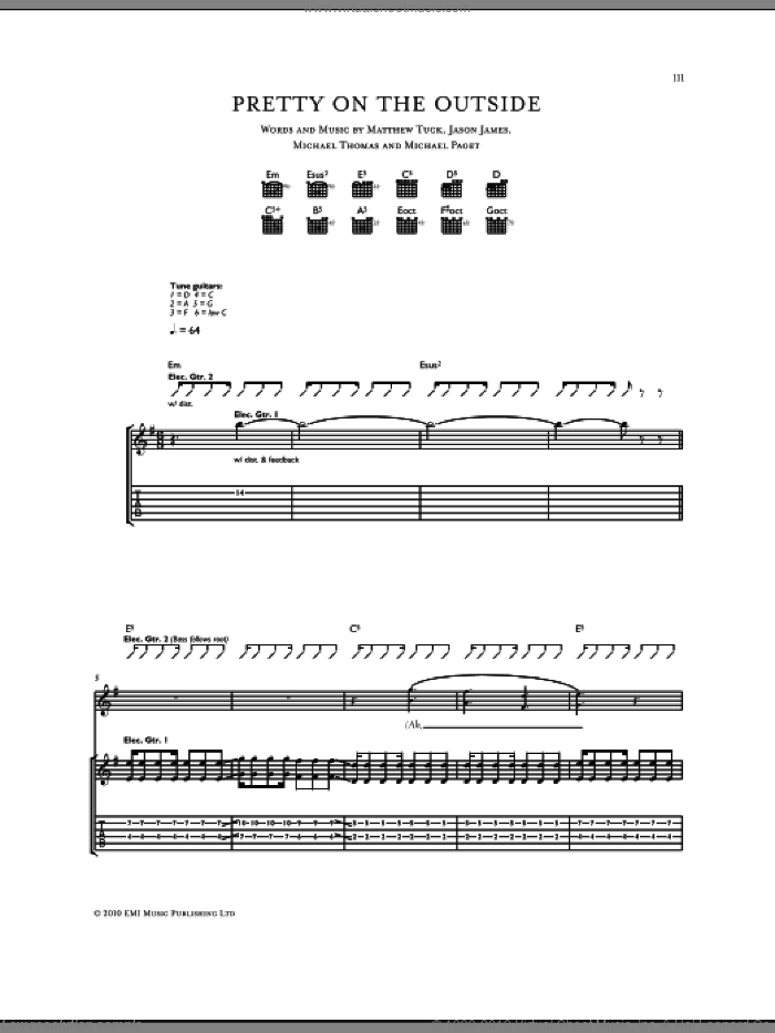 Pretty On The Outside sheet music for guitar (tablature) by Michael Thomas, Bullet For My Valentine and Don Gilmore
