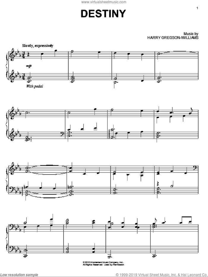 Destiny sheet music for piano solo by Harry Gregson-Williams. Score Image Preview.
