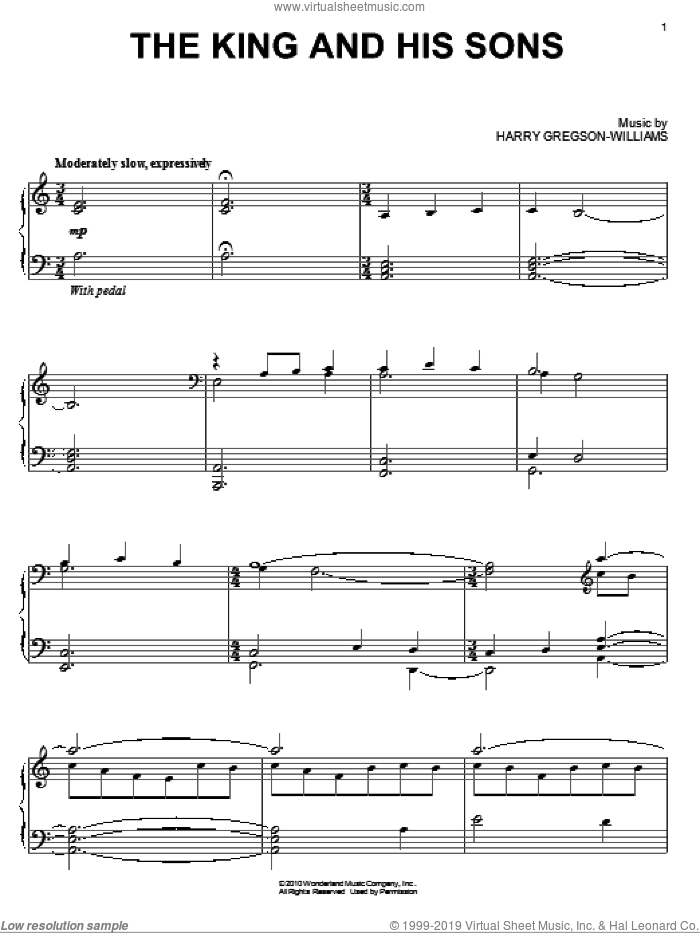 The King And His Sons sheet music for piano solo by Harry Gregson-Williams and Prince Of Persia (Movie), intermediate skill level