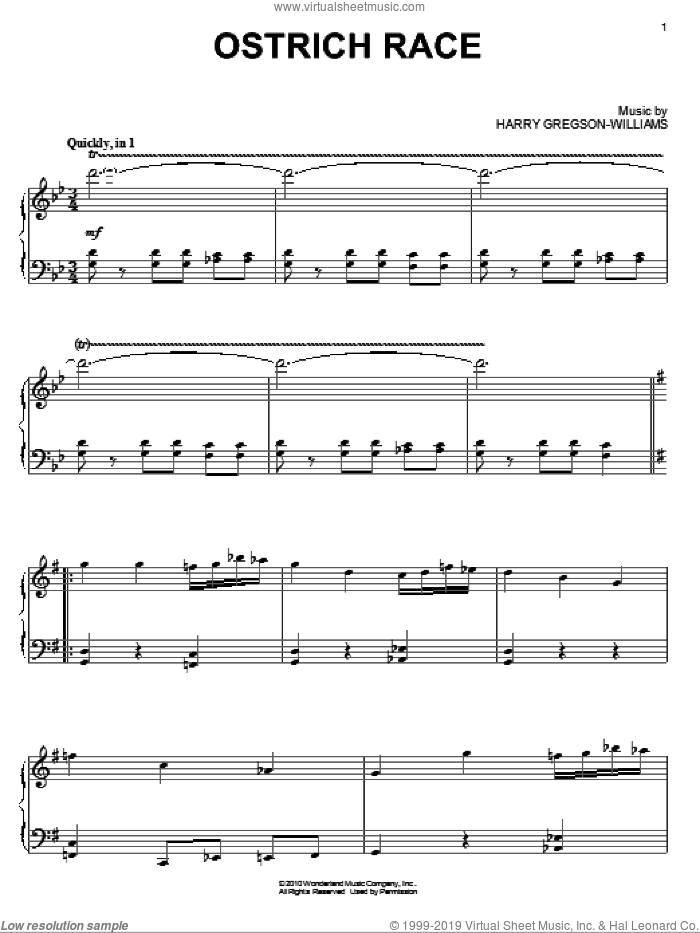 Ostrich Race sheet music for piano solo by Harry Gregson-Williams