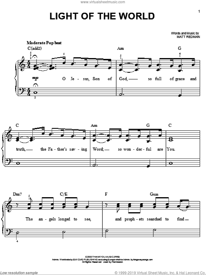 Light Of The World sheet music for piano solo by Chris Tomlin and Matt Redman, easy skill level