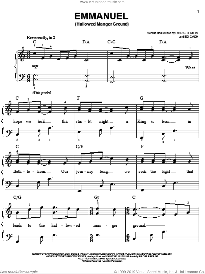 Emmanuel (Hallowed Manger Ground) sheet music for piano solo by Chris Tomlin and Ed Cash, easy skill level