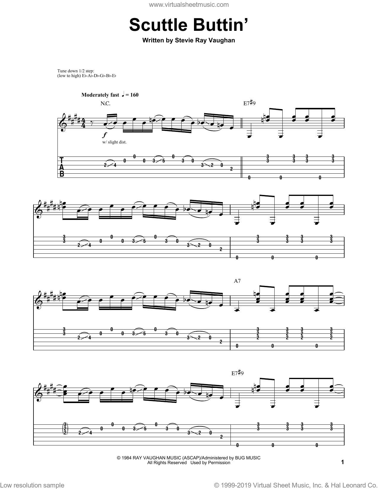 Scuttle Buttin' sheet music for guitar (tablature, play-along) by Stevie Ray Vaughan. Score Image Preview.