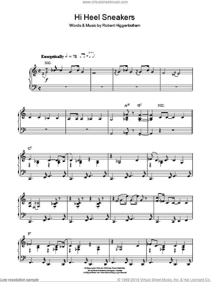 Hi-Heel Sneakers sheet music for piano solo by Tommy Tucker. Score Image Preview.
