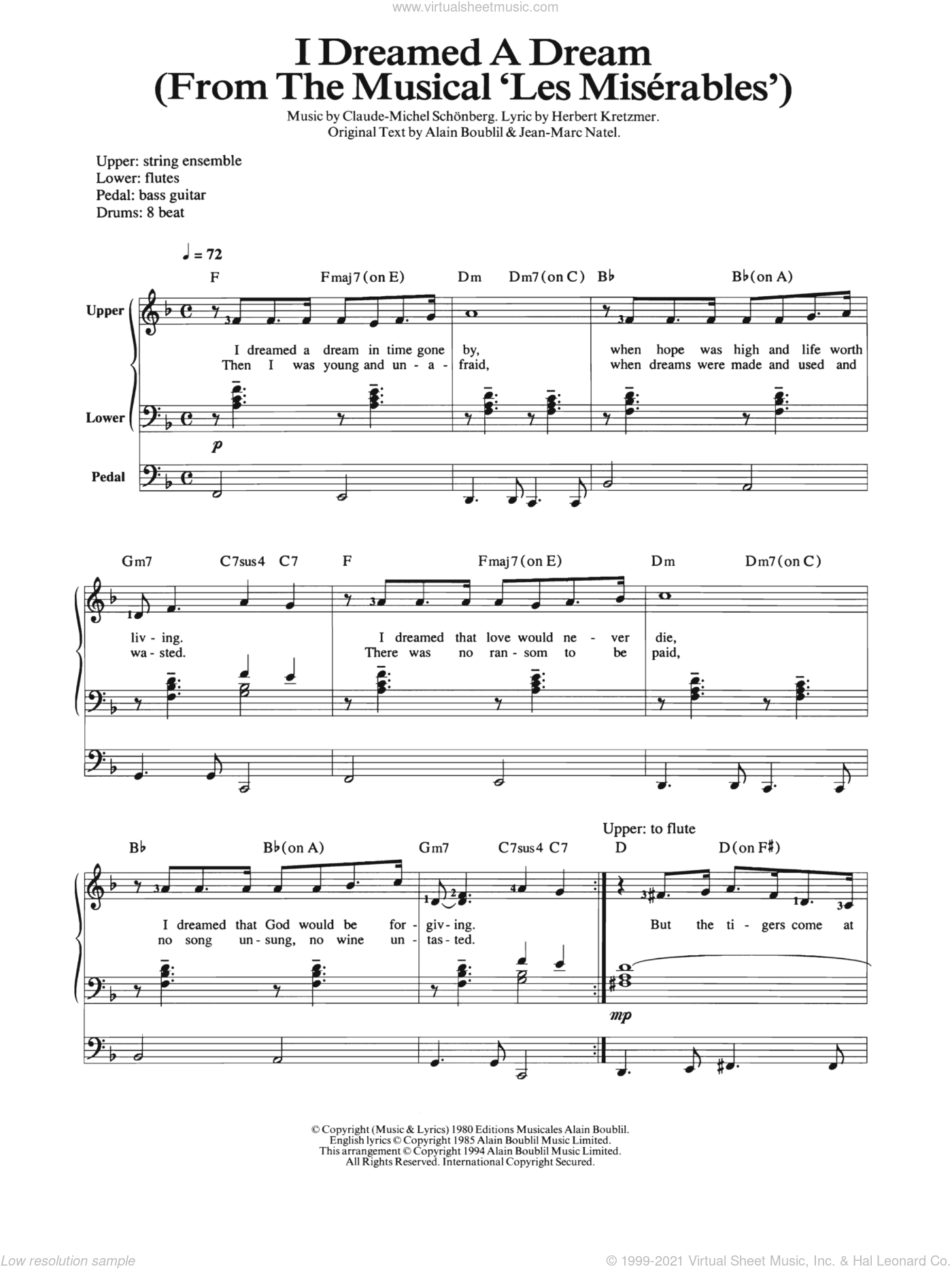 I Dreamed A Dream sheet music for organ by Jean-Marc Natel