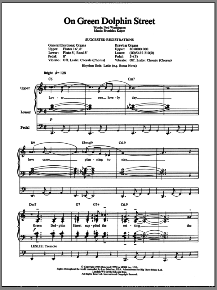 On Green Dolphin Street sheet music for organ by Ned Washington